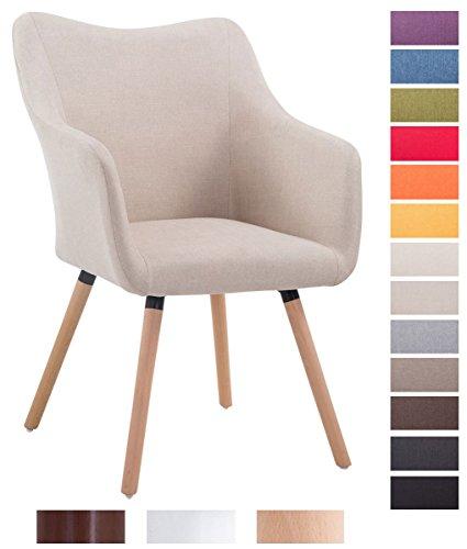 CLP Design Besucher-Stuhl MCCOY V2 mit Armlehne, Stoff-Bezug, Holz-Gestell, Sitzfläche gepolstert Creme, Gestellfarbe: natura