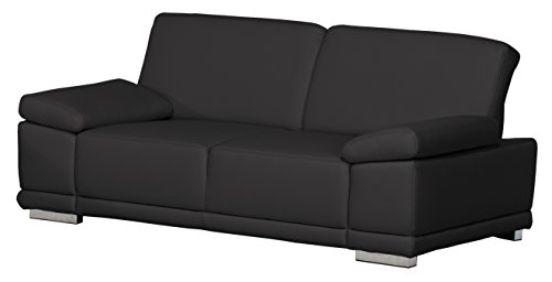 2,5-Sitzer Corianne/191x80x99cm/Leder Punch schwarz-Poroflex softy schwarz