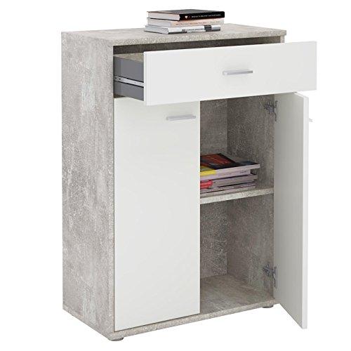 CARO-Möbel Kommode Sideboard Schrank TOMMY Betonoptik/weiß, Anrichte Highboard mit Schublade und 2 Türen