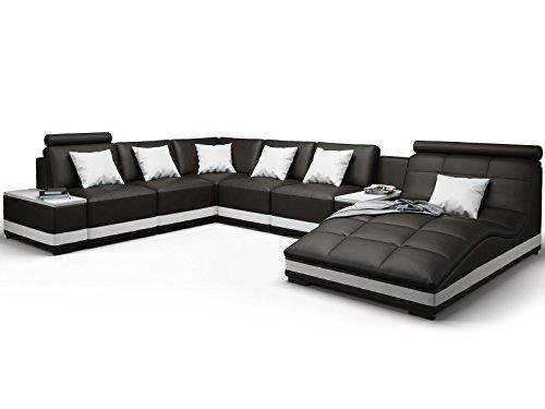 Echt Leder Sofa U-Form Wohnlandschaft Milano schwarz weiß mit Premium Kunstleder (Spiegelverkehrt)