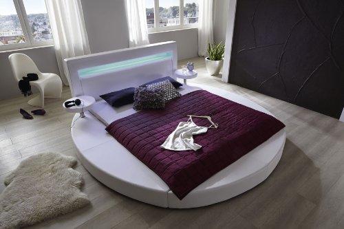 SAM® Polsterbett Tangram in weiß 180 x 200 cm Bett inklusive 2 Nachttischablagen und Beleuchtung im Kopfteil