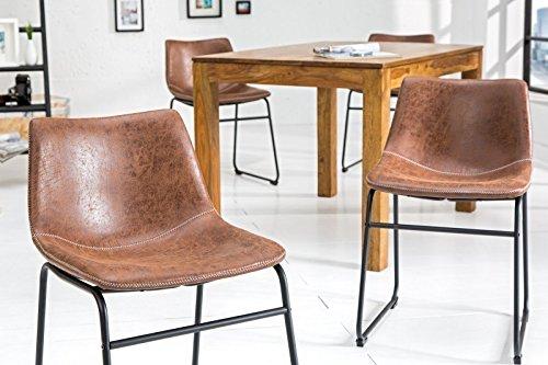 DuNord Design Stuhl Esszimmerstuhl PONTIUS 2er Set Mikrofaser Vintage braun Küchenstuhl Eisengestell