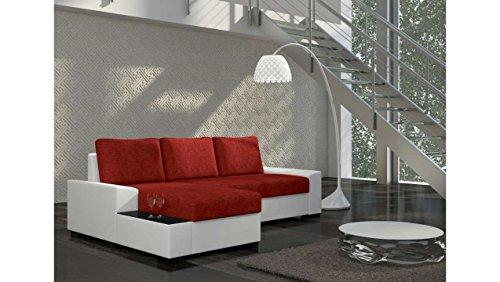JUSTyou Negro Ecksofa Polsterecke Schlafsofa Strukturstoff Kunstleder (HxBxT): 83x245x160 cm Weiß Rot Ottomane links