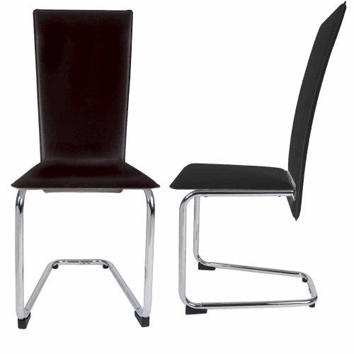 2er SET Design Esszimmerstuhl Stühle Freischwinger (Farbwahl) creme-weiß oder schwarz