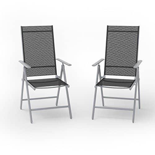 2er set alu gartenstuhl klappstuhl hochlehner campingstuhl. Black Bedroom Furniture Sets. Home Design Ideas