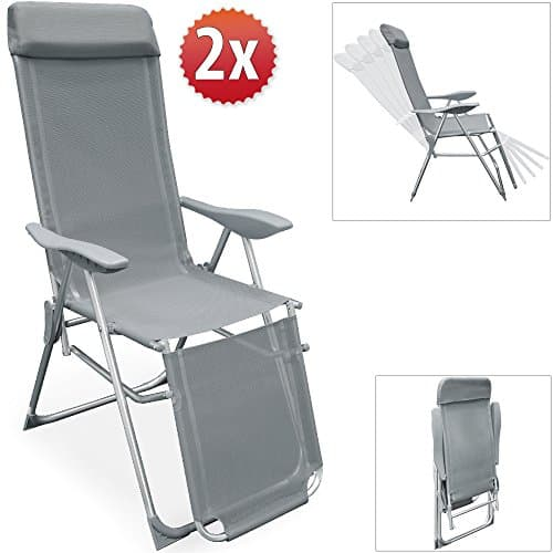 2er-Set-Alu-Klappstuhl-mit-integrieten-Kopfkissen-5-Fach-verstellbar-Liegestuhl-Gartenstuhl-Hochlehner-Campingstuhl-Relaxliege-Klappliege-Relaxsessel-Farbe-anthrazit-0