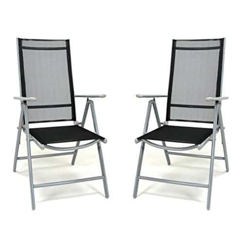 2er-Set-Klappstuhl-schwarz-Aluminium-7-fach-verstellbar-Gartenstuhl-mit-Armlehne-witterungsbestndig-stabil-leicht-Hochlehner-Rahmen-silber-Terrasse-Balkon-0