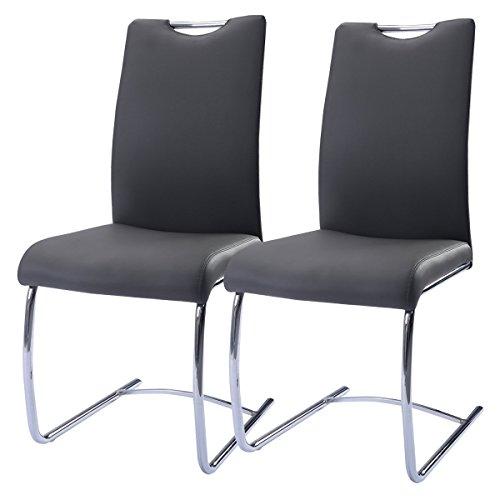 2er set pu schwingstuhl esszimmerstuhl schwingst hle freischwinger stuhl bequeme polsterung. Black Bedroom Furniture Sets. Home Design Ideas