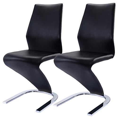 2er Set PU Schwingstuhl Esszimmerstuhl Schwingstühle Freischwinger Stuhl bequeme Polsterung Stuhl Designerstuhl Schwarz