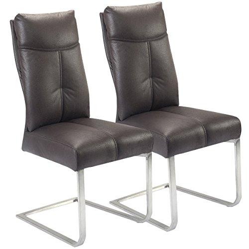 2er Set Schwingstuhl Esszimmerstuhl Schwingstühle Freischwinger Stuhl bequeme Polsterung Stuhl Designerstuhl Rayon Stoff Stuhl