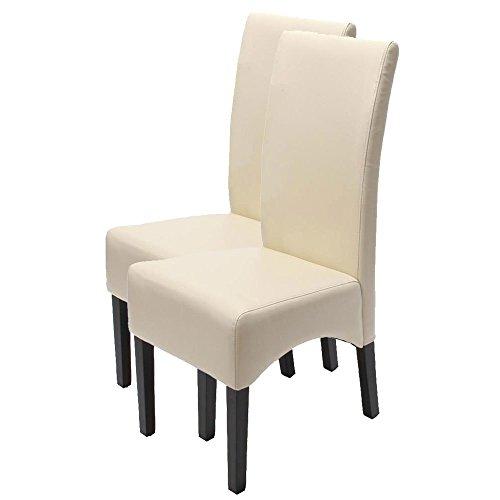 2x Esszimmerstuhl Lehnstuhl Stuhl Latina, LEDER ~ creme, dunkle Beine