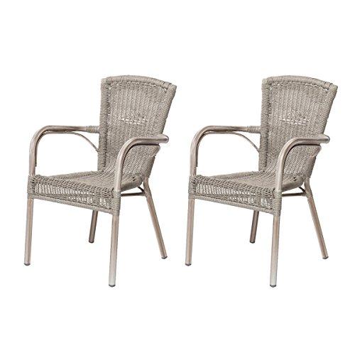 2x-Gartensthle-VERONA-Sessel-mit-Armlehnen-Polyrattan-Stapelstuhl-Beige-Grau-0