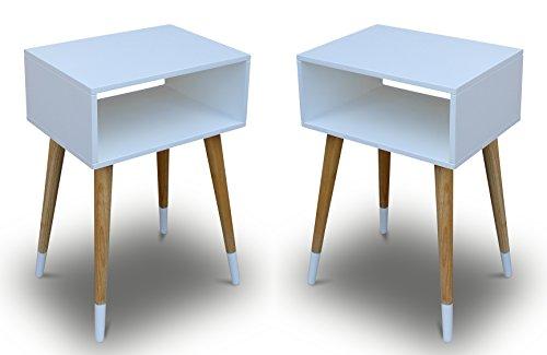 2x-Telefontisch-Holz-Wei-40-x-30-x-60-cm-Nachtschrank-Nachttisch-Konsole-Konsolentisch-Beistelltisch-Schrnckchen-Kommode-Anrichte-Modern-Skandinavisch-Retro-Design-Look-NEU-0