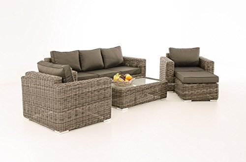 3-1-1 Gartengarnitur CP053 Sitzgruppe Lounge-Garnitur Poly-Rattan ~ Kissen anthrazit, grau-meliert