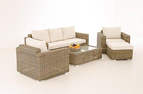 3-1-1 Gartengarnitur CP053 Sitzgruppe Lounge-Garnitur Poly-Rattan ~ Kissen cremeweiß, natur