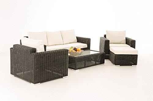 3-1-1 Gartengarnitur CP053 Sitzgruppe Lounge-Garnitur Poly-Rattan ~ Kissen cremeweiß, schwarz