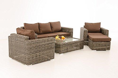 3-1-1 Gartengarnitur CP053 Sitzgruppe Lounge-Garnitur Poly-Rattan ~ Kissen terrabraun, grau-meliert