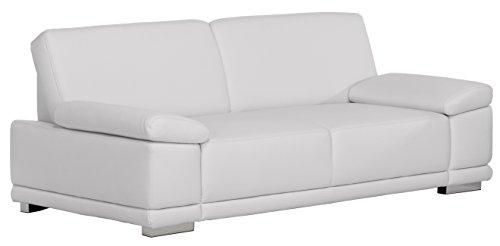 3-Sitzer Corianne/217x80x99cm/Leder Punch reinweiss-Poroflex softy reinweiss