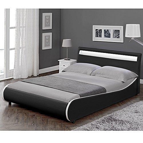 """Corium LED Polsterbett """"Valencia"""" (schwarz)(140x200cm) modernes Bett / Kunst-Leder / mit Stecklattenrost /"""