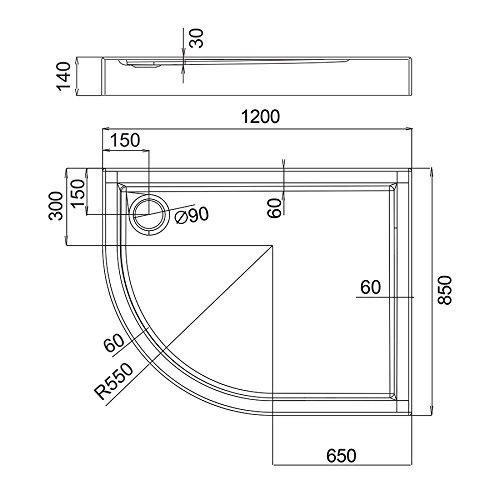 AQUABAD® Duschwanne Comfort Ultima 120x85cm R55 Viertelkreis Asymmetrisch Rechstversion