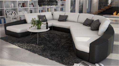 SAM® Sofa Garnitur in weiß - schwarz DOMENCIA 290 x 380 cm designed by Ricardo Paolo® abgerundet modisch zeitlos pflegeleicht exklusiv inkl. Kissen