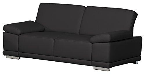 3,5-Sitzer Corianne/248x80x99cm/Leder Punch schwarz-Poroflex softy schwarz