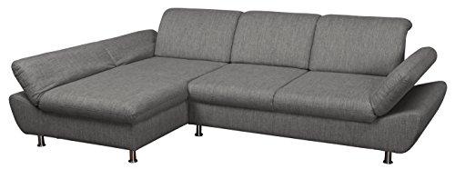 Cavadore 5033 Polsterecke Messal/Longchair 3er AT Fkt./294 x 87 x 195 cm/ Atlanta grau 96