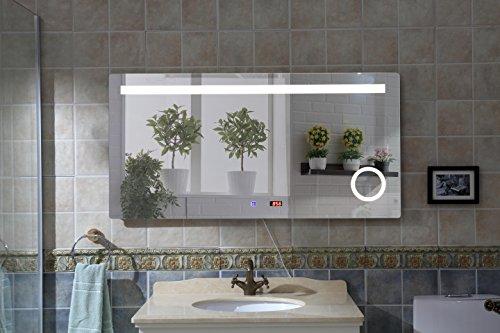 Badspiegel Badezimmerspiegel Wandspiegel Spiegel LED Beleuchtung Touch Sensor IP44 Kosmetikspiegel LED Uhr 60 x 120 cm