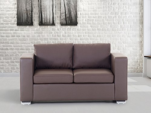 Sofa / Couch Braun - Ledersofa / 2-Sitzer Helsinki