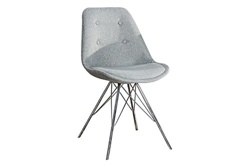 DuNord Design Esszimmerstuhl Stuhl NEW STOCKHOLM grau Strukturstoff Chrom Retro Design Küchenstuhl