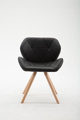 CLP Design Retro-Stuhl TYLER, Bein-Form rund, Kunstleder-Sitz gepolstert, Buchenholz-Gestell, Schwarz, Gestellfarbe: Natura
