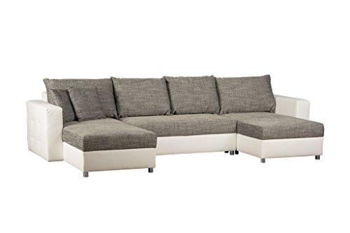 Schlafcouch mit Bettkasten / Recamiere rechts oder links montierbar / Strukturstoff und Kunstleder / Ecksofa in Grau-Weiß / 309 x 163 x 69 cm (B x T x H)