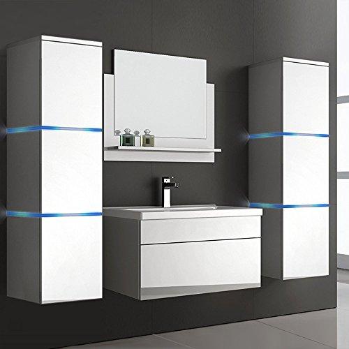 Home Deluxe Badmöbel-Set | Wangerooge weiß | XL | inkl. Waschbecken und komplettem Zubehör | verschiedene Größen