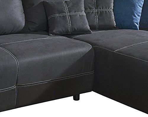 Cavadore Polsterecke Binato mit Schlaffunktion und Longchair rechts / Gemütliche Schlafcouch mit Wellenunterfederung / Maße: 286 x 87 x 171 cm (BxHxT) / Farbe: Toro Anthrazit (dunkelgrau) in Lederoptik