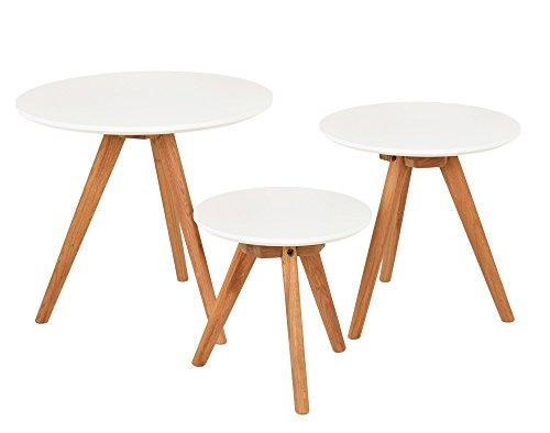 3er Set Design Beistelltische Rund Eiche Weiß Kaffeetisch Couchtisch Nachttisch
