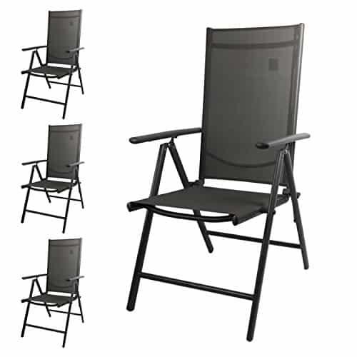 4-Stck-Aluminium-Gartenstuhl-mit-2x2-Textilenbespannung-Lehne-um-7-Positionen-verstellbar-klappbar-Anthrazit-Hochlehner-Positionsstuhl-Campingstuhl-Klappstuhl-0
