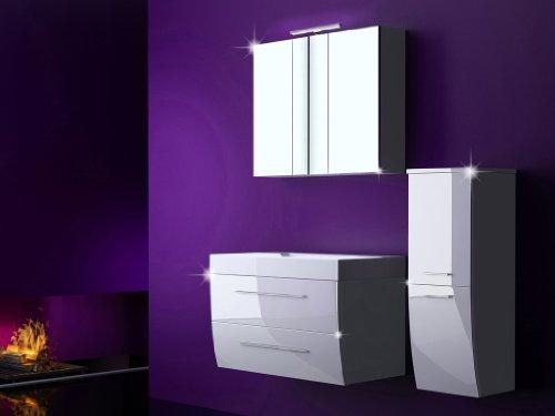 4-Tlg-Badmbel-Set-MILANO-XL-Badezimmermbel-Komplett-Set-Waschbeckenschrank-90-cm-mit-Waschtisch-Spiegelschrank-mit-LED-Weiss-Hochglanz-0