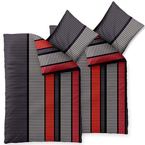 4-teilig / 2 x 2teilig 4-Jahreszeiten MicrofaserBettwäsche 155x220 OVP SPARSET 4tlg. / 4teilig Harmony Carmen grau rot schwarz kariert