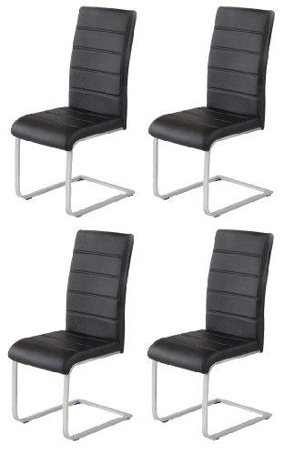 4 x Design Stuhl Freischwinger Piet 30 Kunstleder schwarz Esszimmerstuhl