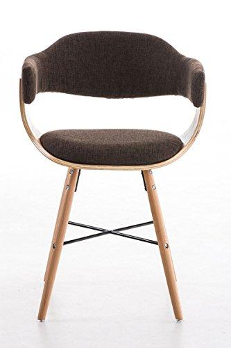 CLP Besucher-Stuhl BARRIE V2 Stoff, natura, mit Armlehne, gepolstert, Holzgestell, modern Braun
