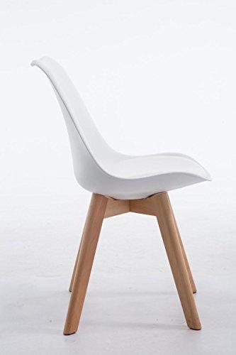 CLP Design Retro Stuhl BORNEO V2, Besucherstuhl mit Holzgestell, Materialmix aus Kunststoff und Kunstleder Weiß, Gestellfarbe: natura