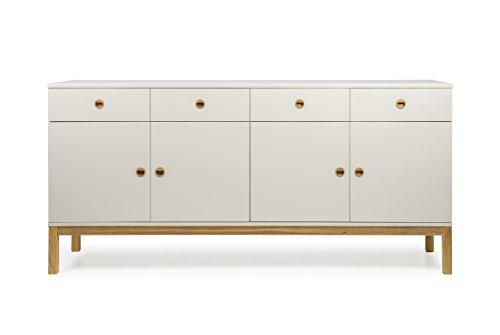 Tenzo 3568-083 Fresh Designer Sideboard Holz, warm grey / eiche, 46 x 192 x 91 cm
