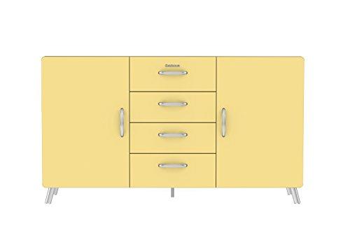 Tenzo 4936-075 Cobra Designer Sideboard, MDF, pastellgelb, 43 x 163 x 92 cm