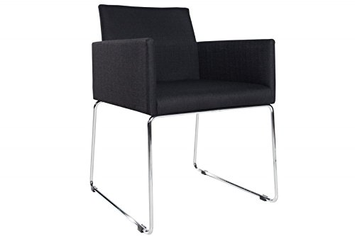 DuNord Design Stuhl Esszimmerstuhl MARCO Strukturstoff schwarz anthrazit Design Küchenstuhl
