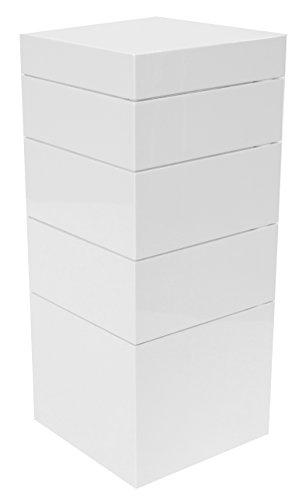 Tenzo 4855-001 Bloc Designer Turm / Truhe Holz, weiß, 36 x 36 x 83 cm