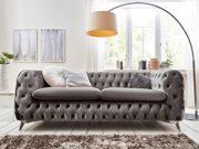 Chesterfield Sofagarnitur 3-2-1 Emma Samtstoff Knöpfung Modern Designer Couch (Silber-Grau) 2