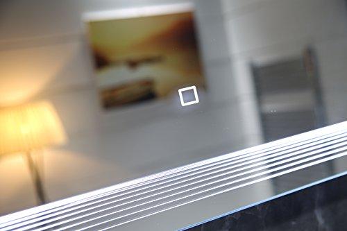 Dr. Fleischmann Design LED-Beleuchtung Badspiegel GS086 Lichtspiegel Wandspiegel mit Touch-Schalter Tageslichtweiß IP44 (80x60cm)