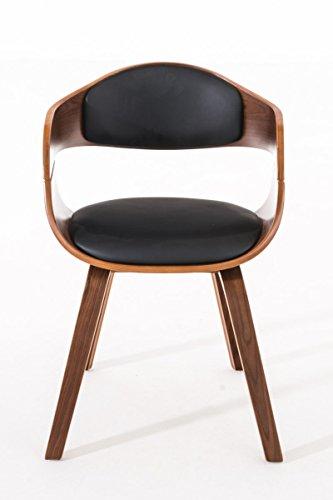CLP Retro Besucher-Stuhl KINGSTON mit Armlehne, gepolstert, Holzgestell, modern Holz Farbe walnuss, Bezug Farbe schwarz