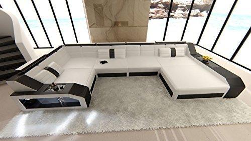 Leder Wohnlandschaft Arezzo U Form weiss-schwarz Sofa Ledersofa Couch Ledercouch Ecksofa LED Licht Kopfstützen Designersofa