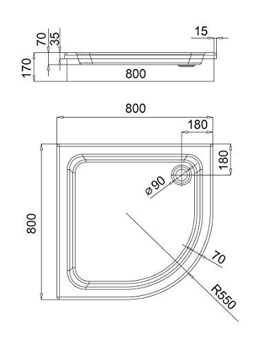 AQUABAD® Duschwanne Comfort Forta 80x80cm Viertelkreis R55 zum befliesen
